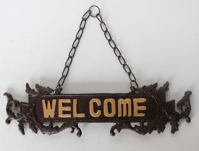 Cast Iron Welcome Sign AI14131