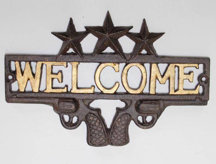 Cast Iron Welcome Sign AI14217
