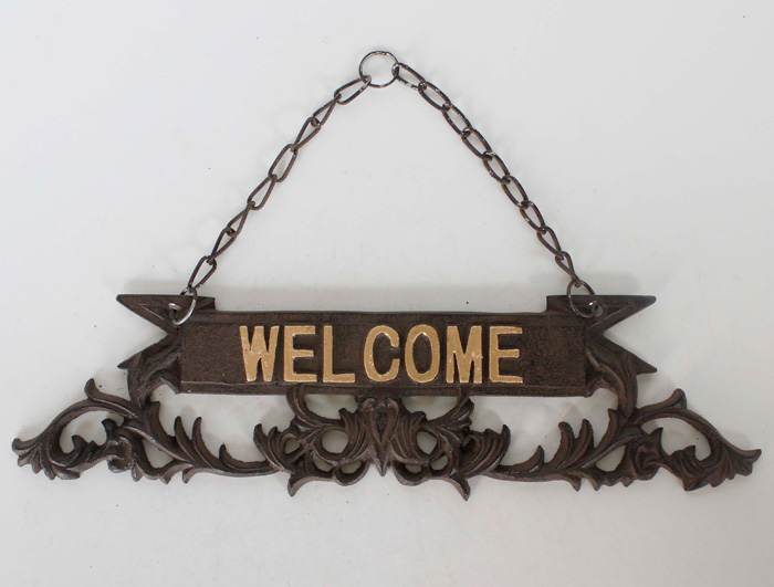 Cast Iron Welcome Sign AI14386