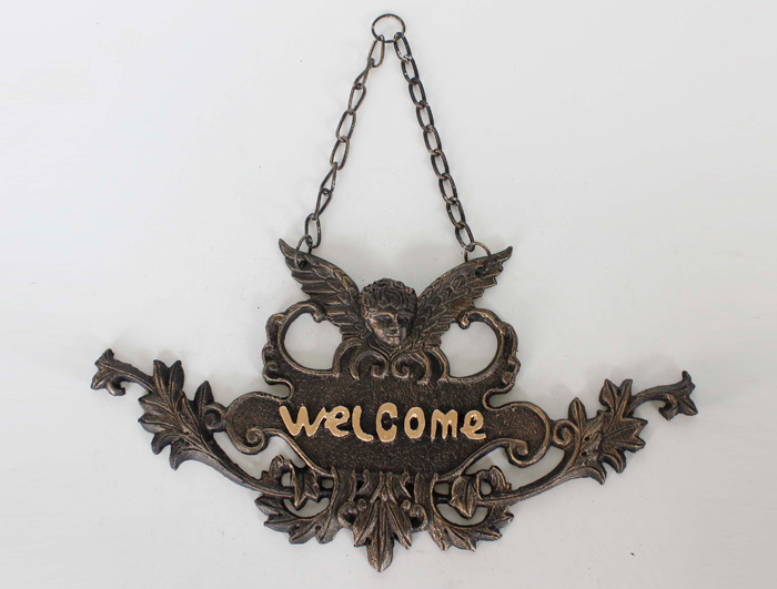 Cast Iron Welcome Sign AI14444